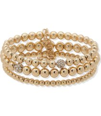 anne klein gold-tone 3-pc. set pave fireball & beaded stretch bracelets