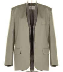 low classic layered tulle open-front blazer - green