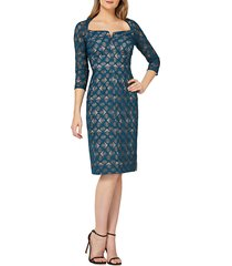 women's kay unger geometric embroidered cocktail sheath dress, size 10 - blue/green