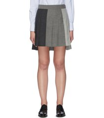 contrast panel dropped back pleated skirt