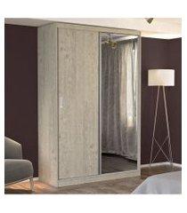 guarda roupa solteiro 2 portas c/ 1 espelho marfim areia m foscarini cinza