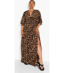 plus luipaardprint maxi jurk met vleermuismouwen, leopard