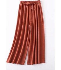 pantaloni palazzo plissettati con coulisse