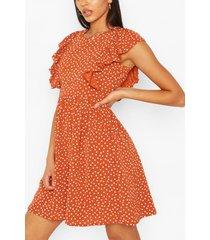 tall woven polka dot print smock dress, rust