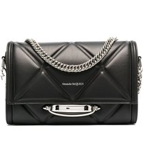 alexander mcqueen diamond-quilt shoulder bag - black