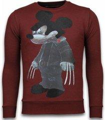 sweater local fanatic bad mouse - rhinestone sweater -