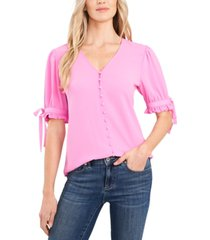cece tie-sleeve button-up top
