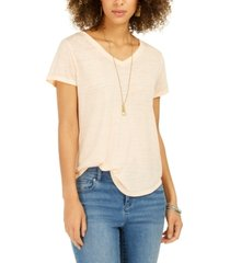 style & co burnout v-neck t-shirt, in regular and petite, created for macy's