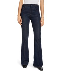 women's chloe braided waist flare jeans, size 12 us - blue