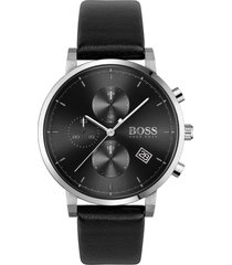 boss integrity chronograph leather strap watch, 43mm in black/silver at nordstrom
