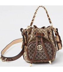 river island womens brown ri mini faux leather duffle bag