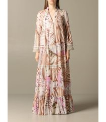 blumarine dress long blumarine dress in printed kaftan