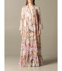 blumarine dress long blumarine dress in printed kaftan