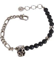 alexander mcqueen black and silver-tone brass bracelet