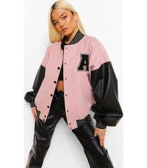 petite oversized varsity jas met pu mouwen, pink