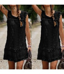 zanzea verano ocasional de las mujeres sin mangas negro blanco mini vestidos de encaje de la borla corta sólido vestido de tallas vestidos (negro) -negro