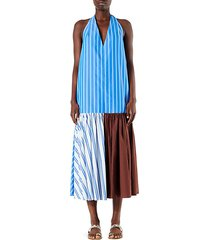 vivian striped halterneck midi dress