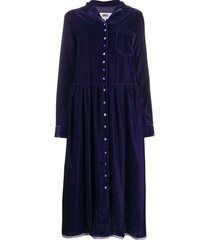 mm6 maison margiela velvet shirt dress - purple