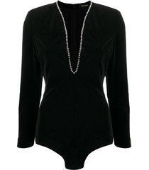 isabel marant plunge-neck velvet bodysuit - black