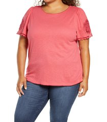 plus size women's caslon embroidered sleeve knit top, size 1x - red