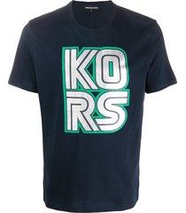 michael kors oversized logo t-shirt - blue