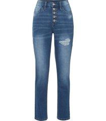 jeans boyfriend con zone sdrucite in cotone biologico (blu) - rainbow