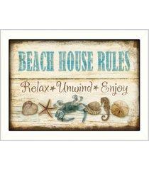 "trendy decor 4u beach house rules by mollie b, printed wall art, ready to hang, white frame, 10"" x 14"""