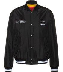 hugo men's bomber jacket with seasonal logo badge on chest and print on back