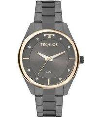 relógio feminino technos fashion 2035mld/4p pulseira aço fume