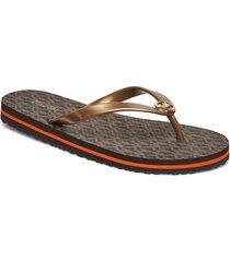 mk flip flop stripe eva shoes summer shoes flip flops guld michael kors