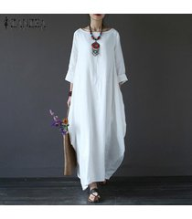 zanzea para mujer cuello redondo vestido de la camisa 3/4 manga del batwing holgado largo maxi casual del partido kaftan sólido tamaño del traje vestido plus -blanco