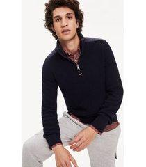tommy hilfiger men's mixed media zip sweater sky captain - xs