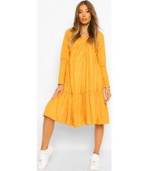 collar detail tiered midi dress, mustard