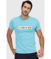 camiseta lacoste bordada azul