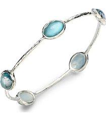 wonderland mother-of-pearl, clear quartz & sterling silver station five-stone doublet bangle bracelet