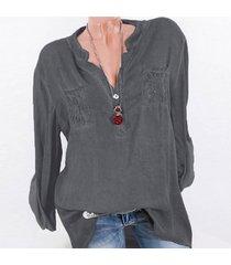 zanzea la manera tapas del cordón del remiendo botones de la camisa de manga larga de las mujeres blusa ocasional gris -gris