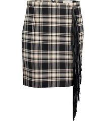 western tartan wool and leather fringe mini skirt