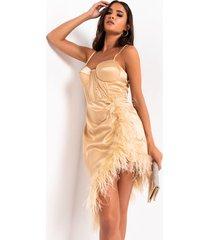 akira give it a twirl corset mini dress with feather fringe