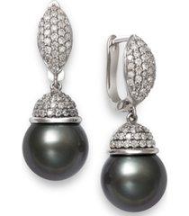 cultured tahitian pearl (10mm) & diamond (5/8 ct. t.w.) drop earrings in 14k white gold