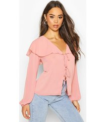 woven cape detail tie front blouse, blush