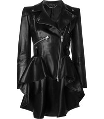alexander mcqueen peplum waist biker jacket - black