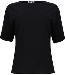blusa cuello barco unicolor color negro, talla 10