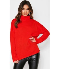loose fit roll neck sweater, red