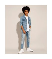 calça carrot jeans destroyed azul claro