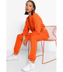 crop sweatshirt and jogger tracksuit, orange