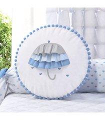almofada azul redonda babado guarda-chuva 35cm grão de gente azul