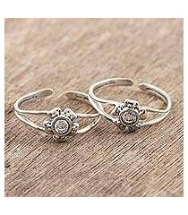 sterling silver toe rings, 'gorgeous blooms' (india)