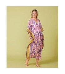 kaftan longo - kaftan dária cor: off white, pink e roxo estampado - tamanho: u