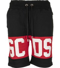 gcds band logo bermuda black shorts