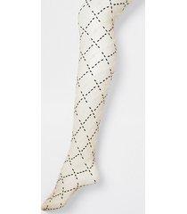 river island womens beige two tone rir monogram sheer tights